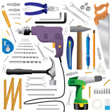 diy tool equipment - realistic illustration poster