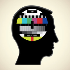 tv color test in human head