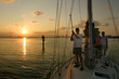 Family on sailboat in Biscayne Bay, Miami