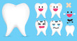 set of smiley tooth isolated on blue background