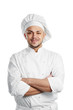happy chef in white uniform isolated