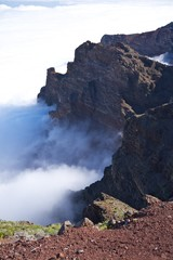rock wall over clouds at La Palma