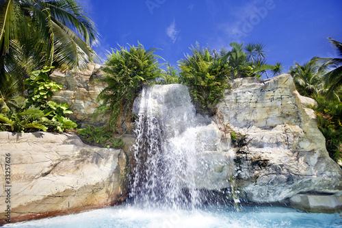 Mountain waterfall in malaysia rainforest. - 33257626