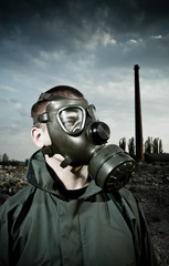 Man wearing gas mask
