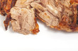 Closeup of roasted lamb leg with sliced piece of meat