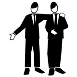 Symbolised business simple-man giving helpful advice poster