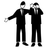 Symbolised business simple-man giving supportive advice poster
