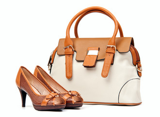 Pair of female shoes and handbag over white background