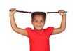 Little girl pulling their long tresses