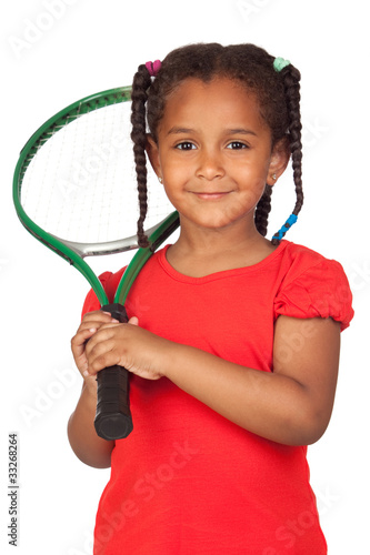 African little girl with a tennis racket