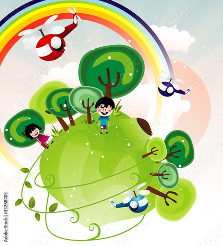 Poster Regenboog fantasy landscape with kids vector
