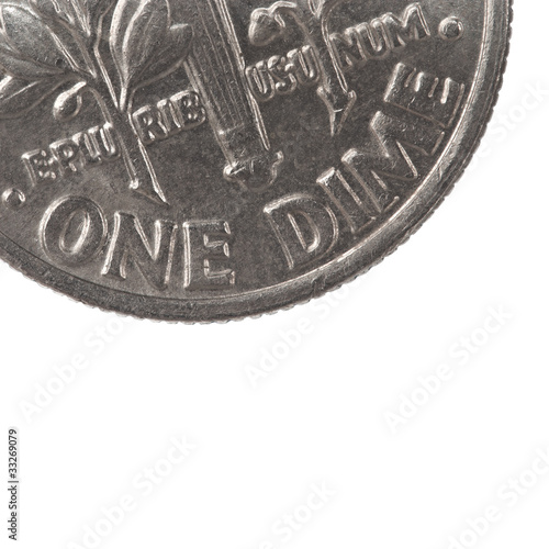 super macro closeup of USA dime coin, ten cents