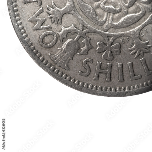 super macro closeup of british two shillings coin
