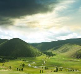 Fototapeta 3D zielone wzgórza
