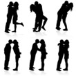 kissing man and girl black silhouette