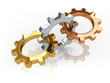 three gears in gold, silver and bronze