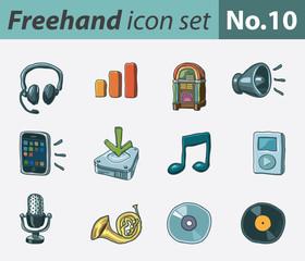Freehand icon set - audio