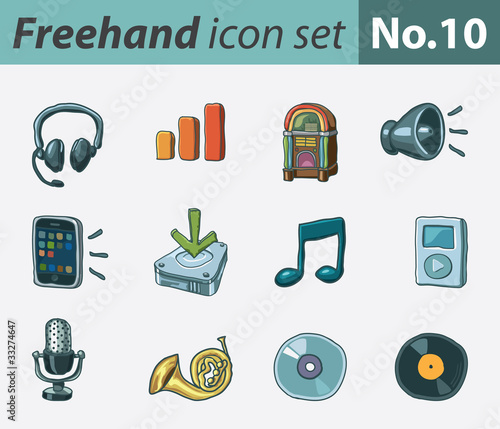 Freehand icon set - audio