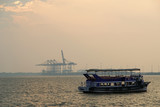 Cargo port on a sunset, Cochin, Kerala, South India