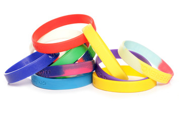 Various charity fundraising wristbands