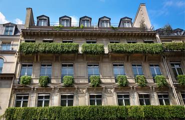 The facade of apartment building in Paris