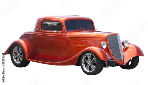 In de dag Oude auto s American hot rod isolated on white
