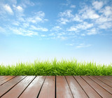 Fototapety wooden terrace with fresh spring green grass