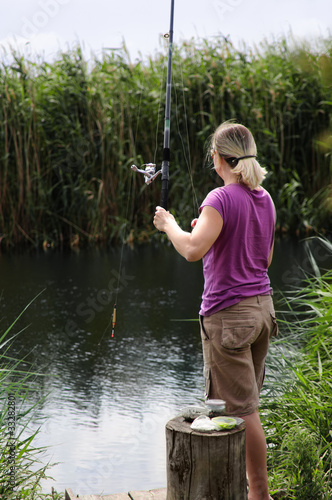 Young woman fishing