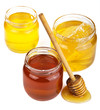 honey in jars isolated
