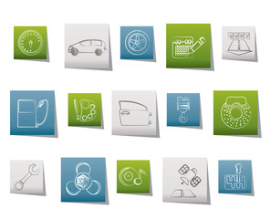 car parts, services and characteristics icons