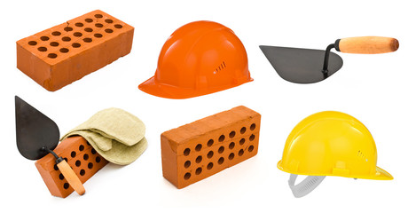 ceramic brick, trowel, hard hats and gauntlet set isolated on wh