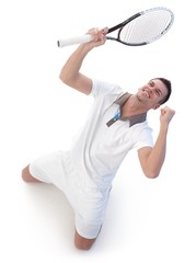 Happy tennis player celebrating victory