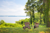 Camp Chairs by Lake poster