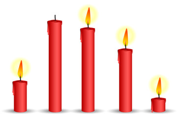 set of red candle isolated on white background