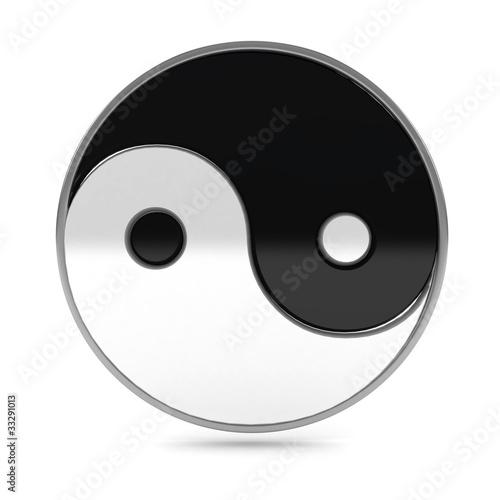 Yin Yang symbol over white background
