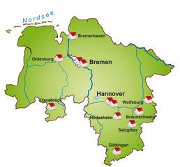 Niedersachsen Infokarte grün in SVG
