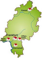 Hessen Infokarte  grün in SVG
