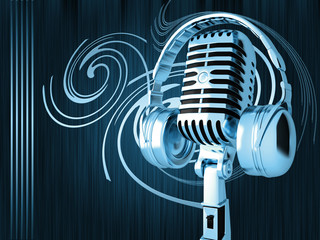 Microphone with headphones on blue background