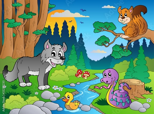 Poster Rivier, meer Forest scene with various animals 5