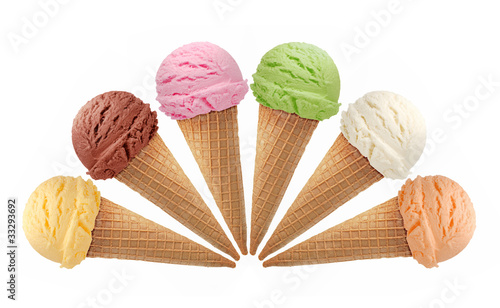 Mixed ice cream scoops with cone isolated on white background