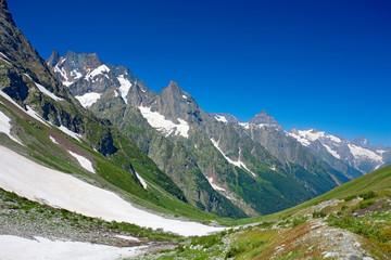 Scenic view of caucasus mountains