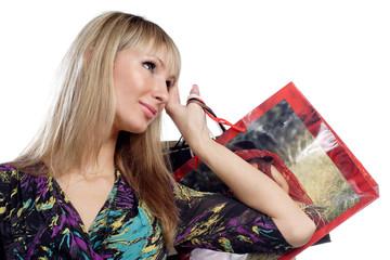 beautiful young girl hold shopping bags