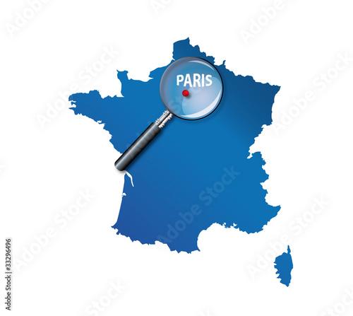 Paris : Localisation sur carte de France - département île de Fr
