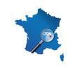 Lyon : Carte de France - département du Rhône
