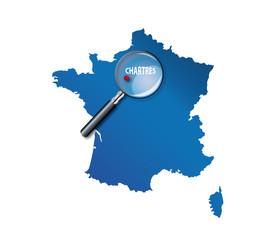 Chartres : Localisation sur carte de France - Eure-et-Loir