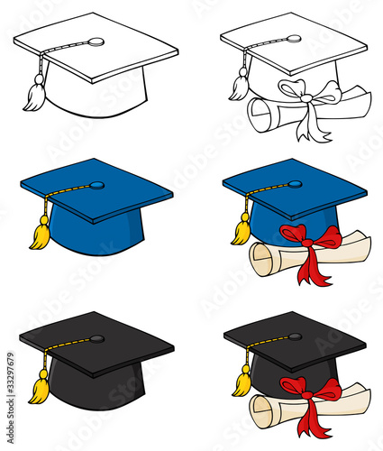 Graduation Caps-Vector Collection
