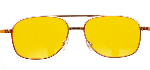 Yellow glasses isolated on white