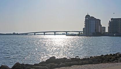 Waterfront view of Sarasota bridge.