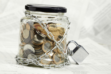 coins in money jar