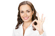 Happy smiling business woman with okay gesture, isolated